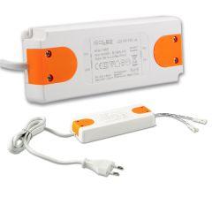 LED Trafo MiniAMP 24V/DC, 0-50W, 120cm Kabel mit Flachstecker, sekundär 2 female Buchsen